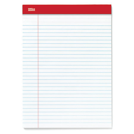 """Office Depot Brand Perforated Writing Pads, 8 1/2"""" x 11 3/4"""", Legal Ruled, 50 Sheets, White, Pack Of 12 Pads"""