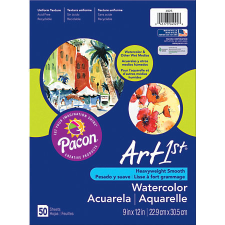 "Art1st Watercolor Paper, 9"" x 11"", Pack Of 50 Sheets"