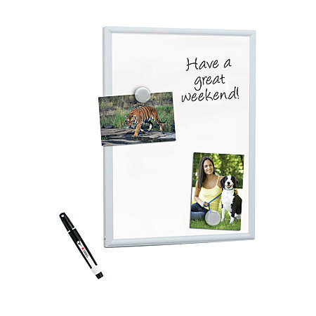 """FORAY Mini Magnetic Dry-Erase Board With Aluminum Frame, 11"""" x 14"""", White Board, Silver Frame"""