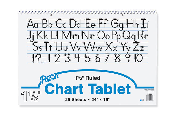 "Pacon Chart Tablet, 24"" x 16"", 1 1/2"" Ruled, 25 Sheets"