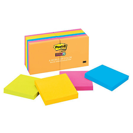 """Post-it 3"""" x 3"""" Super Sticky Notes, Rio De Janeiro Collection, 90 Sheets Per Pad, Pack Of 12 Pads"""