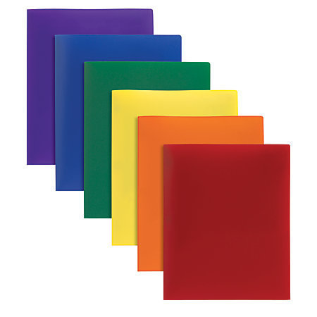 Office Depot® Brand Poly 2-Pocket Portfolio, Assorted Colors