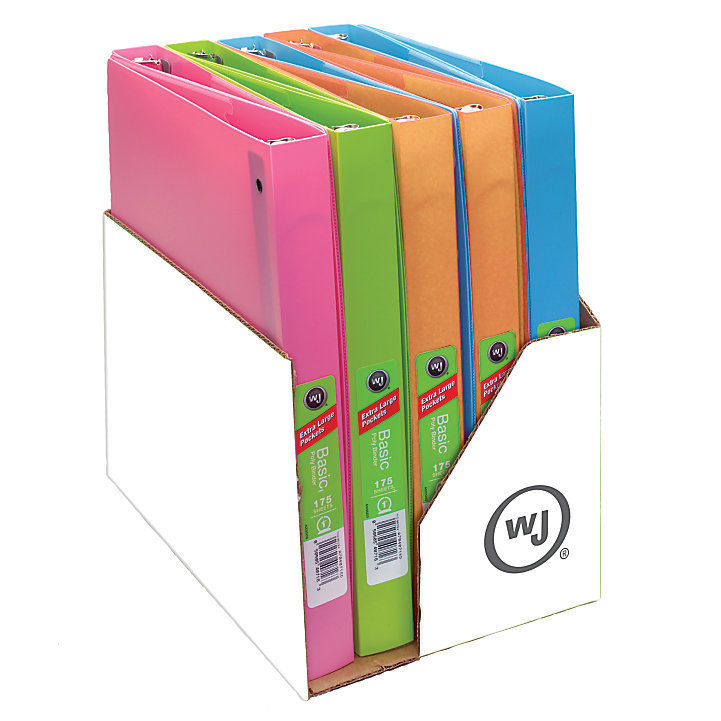 Wilson Jones Flex Poly Fashion Binder, 1 Rings, Assorted Colors (No Color Choice)