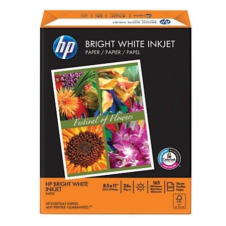"HP Bright White Inkjet Paper, Satin, 8 1/2"" x 11"", 24 Lb, Ream Of 500 Sheets"