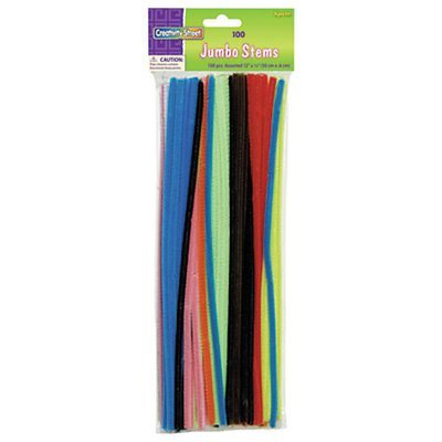 Chenille Kraft Jumbo Pipe Cleaners, Assorted, Pack Of 100