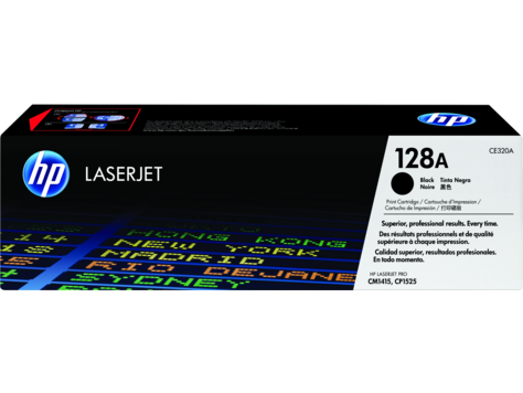 HP 128A, Black Original Toner Cartridge (CE320A)