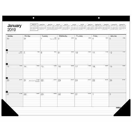 """Office Depot® Brand Large Monthly Desk Pad Calendar, 22"""" x 17"""", White, January To December 2020"""