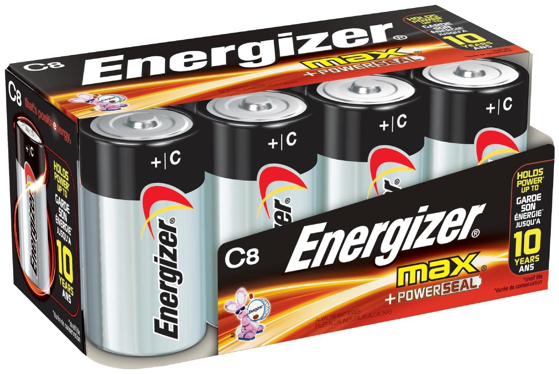 Energizer Max Alkaline C Batteries, Pack Of 8