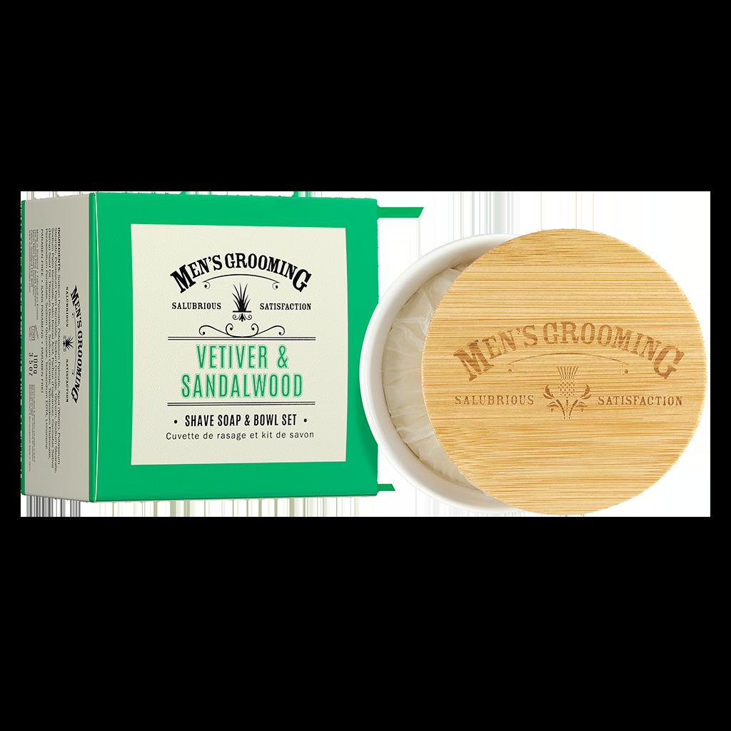 Scottish Fine Soaps Men's Grooming Vetiver and Sandalwood - Shave Soap & Bowl Set