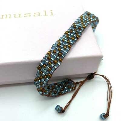 Musali Armbånd - lyseblå/brun