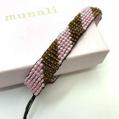 Musali Armbånd - lyserød/brun