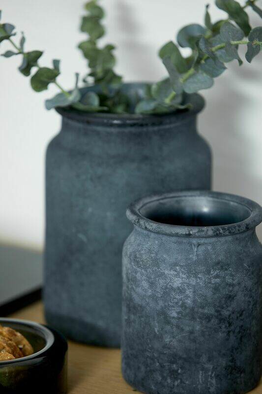 Palma vase, genbrugs glas. Sort