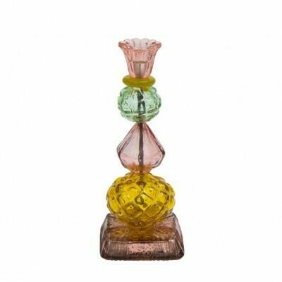 byRoom lysestage grøn-pink-orange, genbrugs glas.