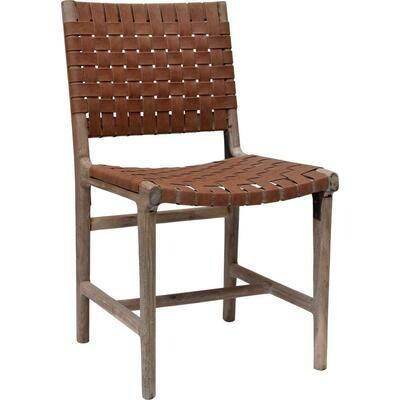 James spisebordsstol med læder flet  2 Stk - brun