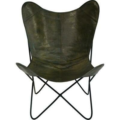 Cool loungestol i kraftigt læder - Grøn
