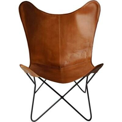 Cool loungestol i kraftigt læder - Brun