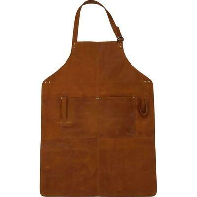 Trademark Living Forklæde i brunt læder - large