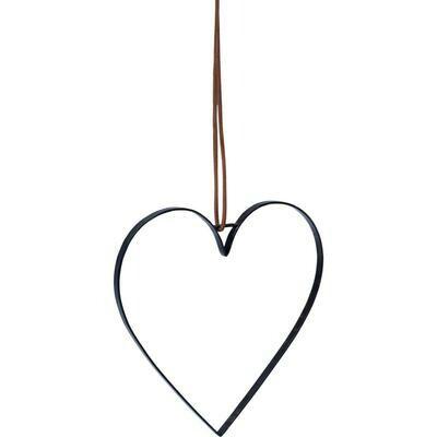 Hjerte med læderstop - medium