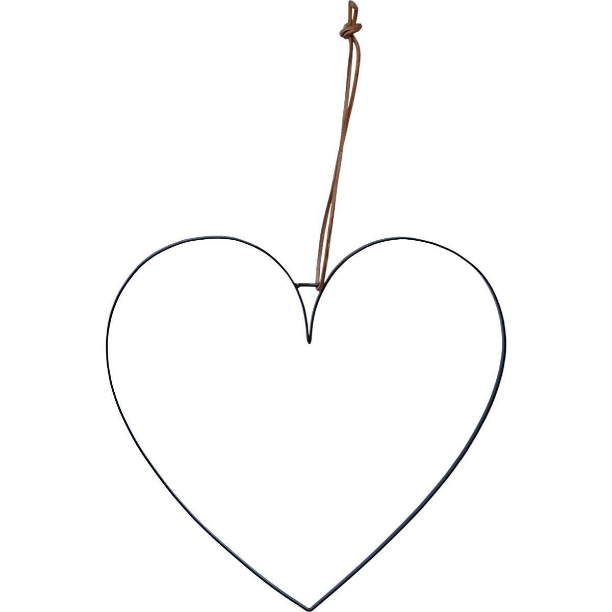 Hjerte med læderstop - large