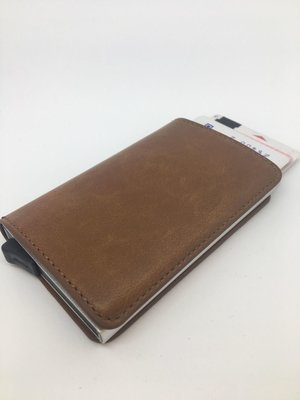 Kreditkort holder m. læder etui, Brun