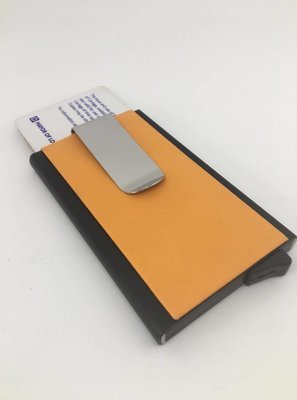 Kreditkort holder m. pengeclips, Orange