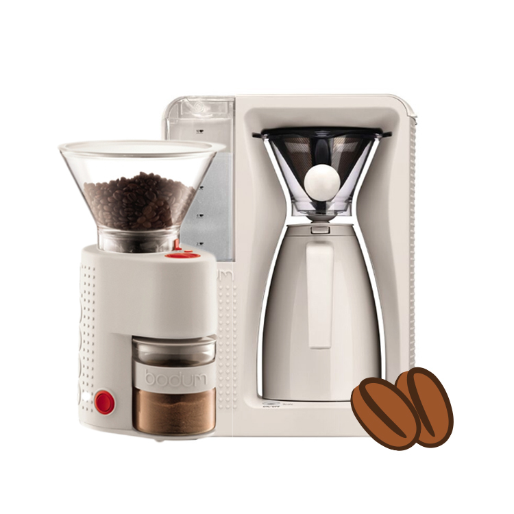 Fortissimo Automatic Pour Over Coffee Maker Burr Grinder Two 8 8oz Coffee Beans