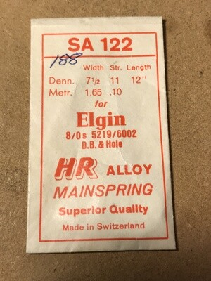 HR Mainspring SA122 - Elgin 8/0s #5219 / 6002 - Alloy