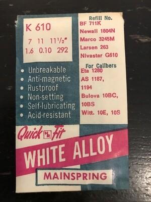 HR Quick Fit Mainspring K610 for Bulova 10BC, 10BS, Witt 10E, 10S, ETA 1280 - Alloy