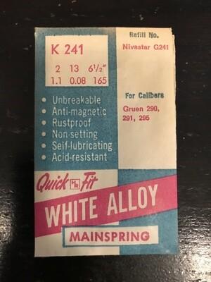 HR Quick Fit Mainspring K241 for Gruen caliber 290, 291 & 295 - Alloy