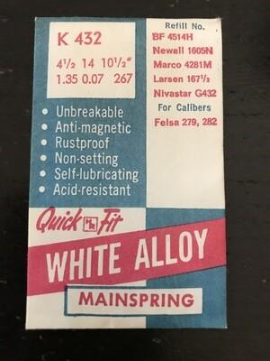 HR Quick Fit Mainspring K432 for Felsa caliber 279, 282 - Alloy