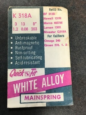 HR Quick Fit Mainspring K318A for Omega 240, Gruen 270, 271, 272 - Alloy