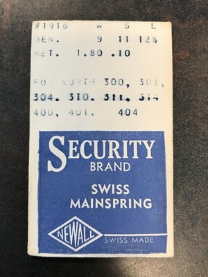 Newall Security Mainspring #1916 for Kurth 300 thru 314 + 400 thru 404 - Alloy