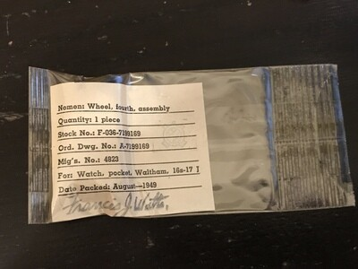 Waltham 4th wheel #4823 for 16s Military issue pocket watches in factory packaging