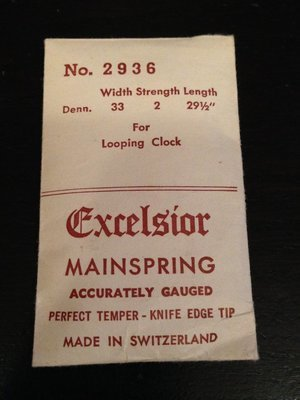 Excelsior #2936 Mainspring for Looping Clock