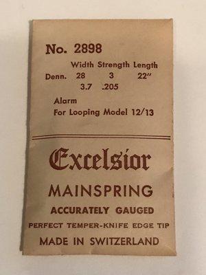 Excelsior #2898 ALARM Mainspring for Looping Clock Model 12/13 - Steel