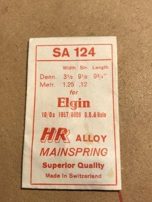 HR Mainspring SA124 - Elgin 10/0s #1957 / 6009 - Alloy