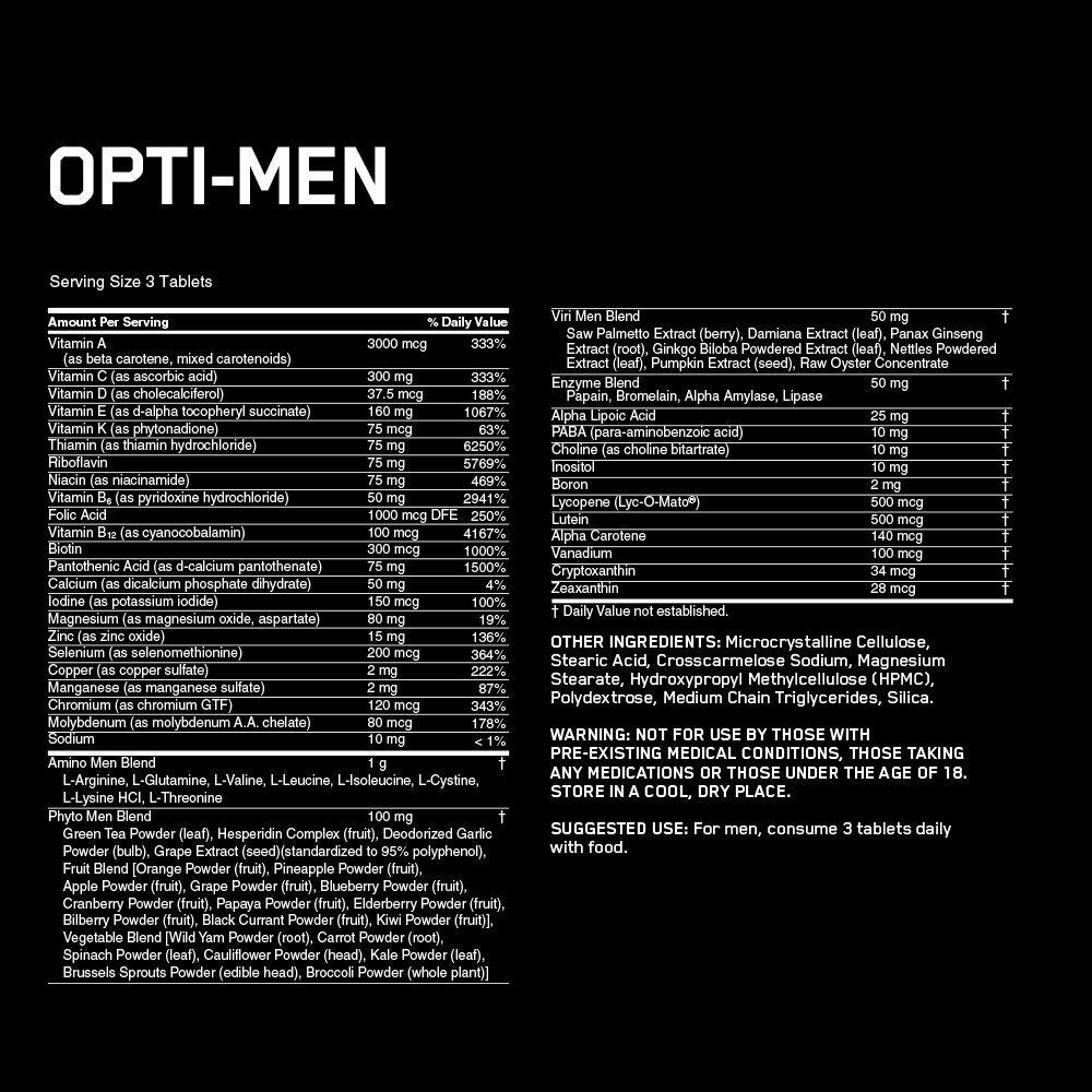 Optimum Nutrition Opti-men Multi-vitamin - 150 Tablets