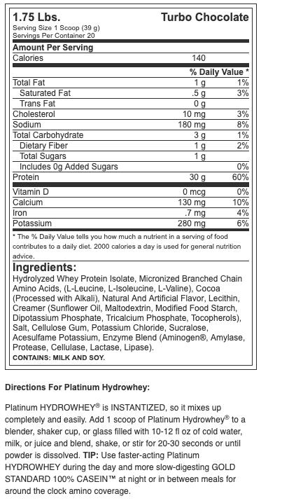 Optimum Nutrition Platinum HydroWhey 1.75Lbs