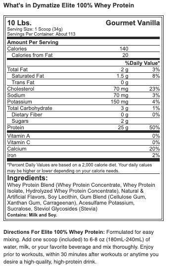 Dymatize Elite 100% Whey Protein - 10 lbs