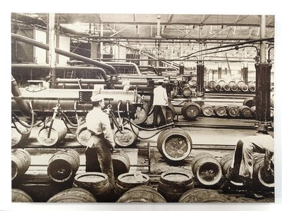 Canvas picture of an old beer filling line