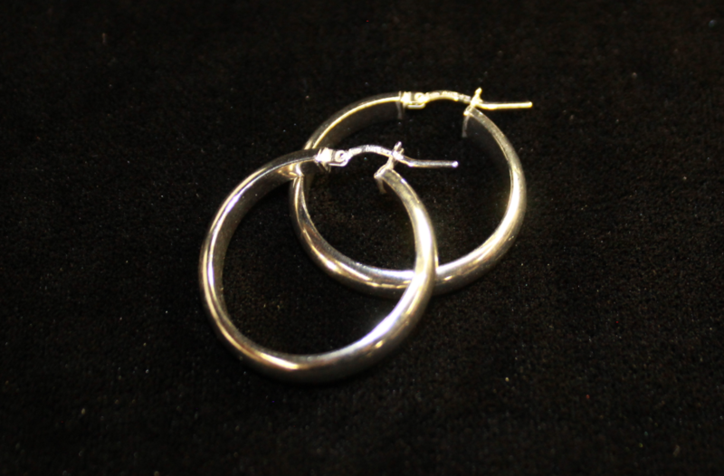 Silver Hoop Earrings (Italian Half Moon)