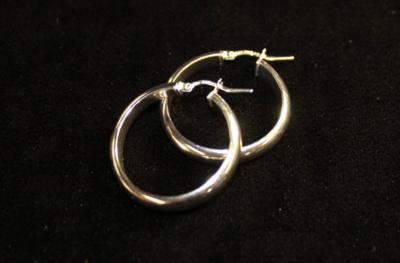 Silver Hoop Earrings (Italian Half Moon)