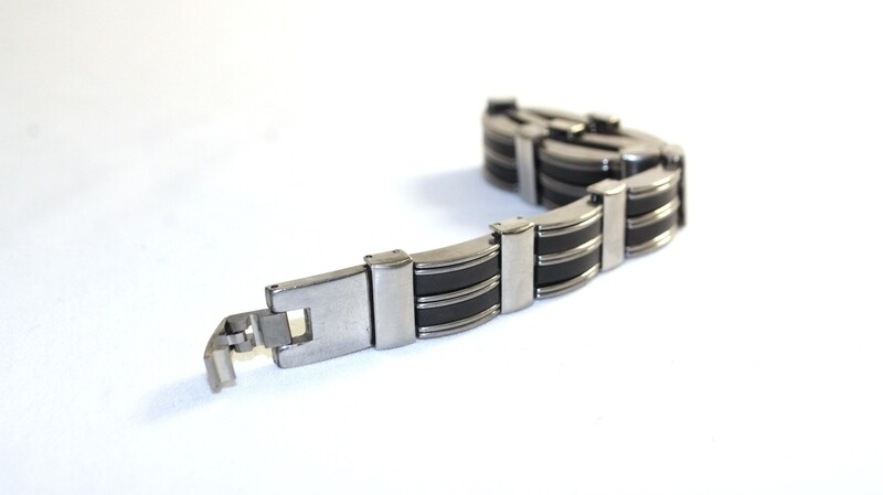 Men's Stainless Steel & Black Bracelet