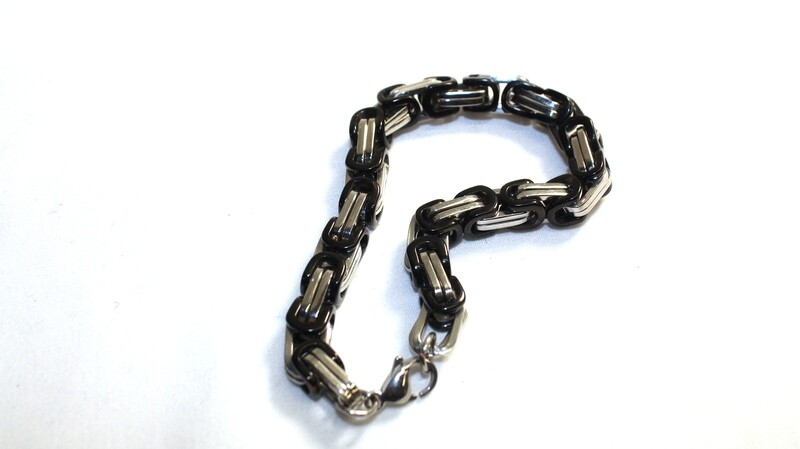 Men's Stainless Steel and Black Chain Link Bracelet