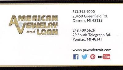 Autographed American Jewelry & Loan Business Card