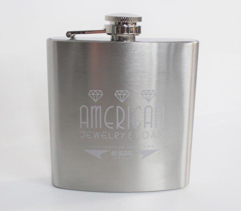 6oz Stainless Steel American Jewelry & Loan Flask