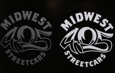 MIDWEST STREETCARS DIE CUT DECAL WHITE