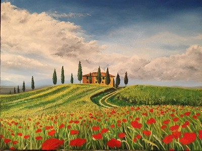 Poppies in Tuscany - Canvas (A3)
