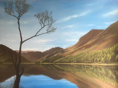 Buttermere at Dawn with Tree (A3)