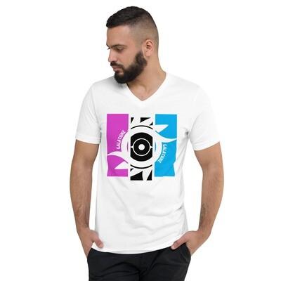 Tripanel Unisex Short Sleeve V-Neck T-Shirt